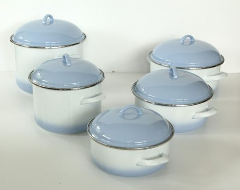 10 pieces Enamelled Potset Blue White
