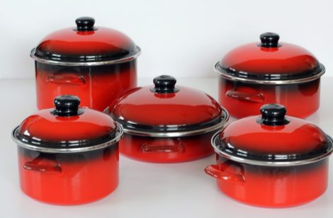 "10 pieces Enamelled Potset Red Black ""Grande"""