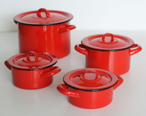 8 pieces Enamelled Potset Red