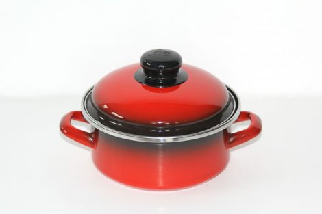 Enamel Pot with Lid 16 cm 1,5 L Red