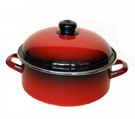 Enamelled Pot  24 cm  3,75 L Red Black