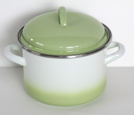 Enamel Pot 16 cm - 2 L green-white