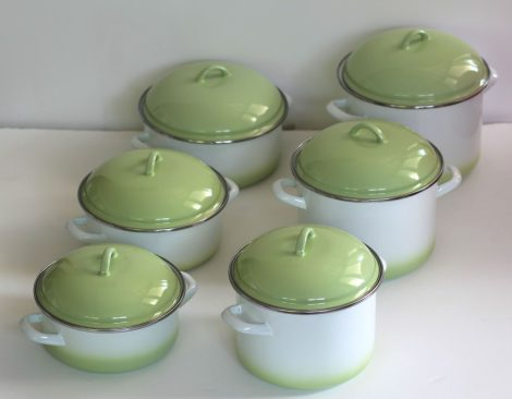 12 pieces Enamelled Potset Green White