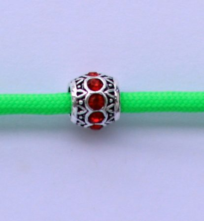 Tibetian Silver Rhinestone Spacer Bead - Red- Sphere
