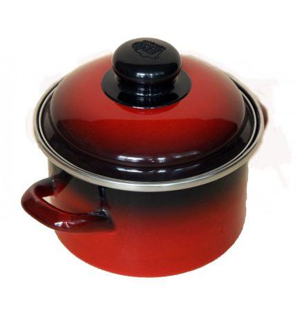 Zománcos fazék 14 cm piros-fekete
