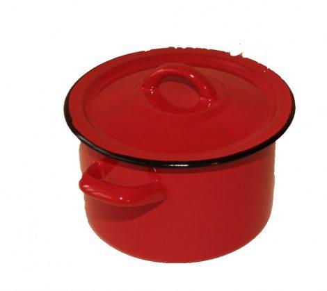 Zománcozott fazék 16 cm piros