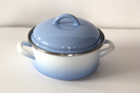 Emaille Topf Blau Weiss, 16 cm  1,25 L