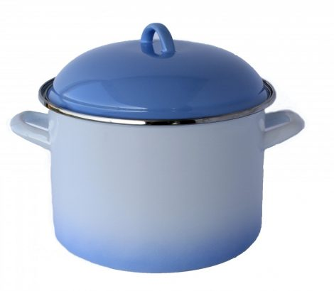 Emaille Topf 24 cm  7,5 L Blau-Weiss